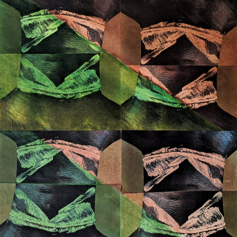 "Neck 8 Brown Green © Kaethe Kauffman 2021 collaged archival print 16"" x 15"""