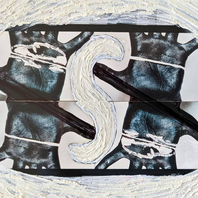 """Palms Black 4 S&X © Kaethe Kauffman 2021 collaged archival print with pigment 12"""" x12"""""""