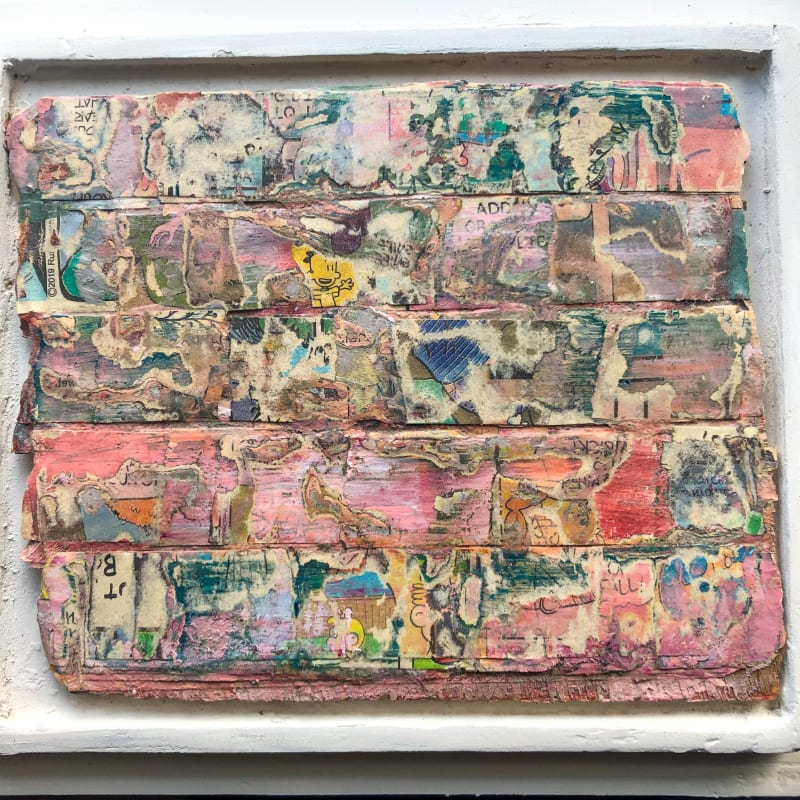 """Traces © Gail Hillow Watkins 2020, mixed media on wood 5"""" x 6"""" inches"""