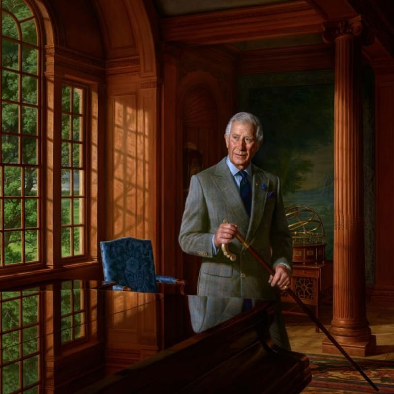 Ralph Heimans, Portrait of HRH The Prince of Wales, 2018 Oil on canvas, 188 x 252 cm © Ralph Heimans