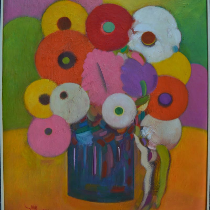 Fouad Mimi, Flowers in a vase, Oil on canvas, 2016, 60.5x50.5cm