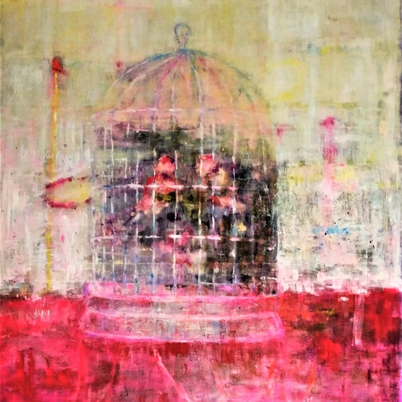 Nadia Abu Aitah, Yellow cage, 2018, Oil on canvas, 162x130cm