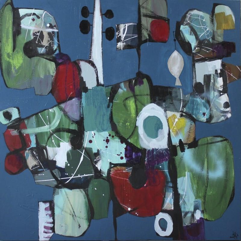 Nissa Raad, Untold III, 2020, Mixed media on canvas, 130x130cm
