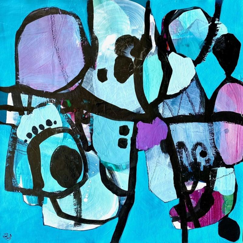 Nissa Raad, SwimI, 2021, Acrylic on canvas, 55x55cm