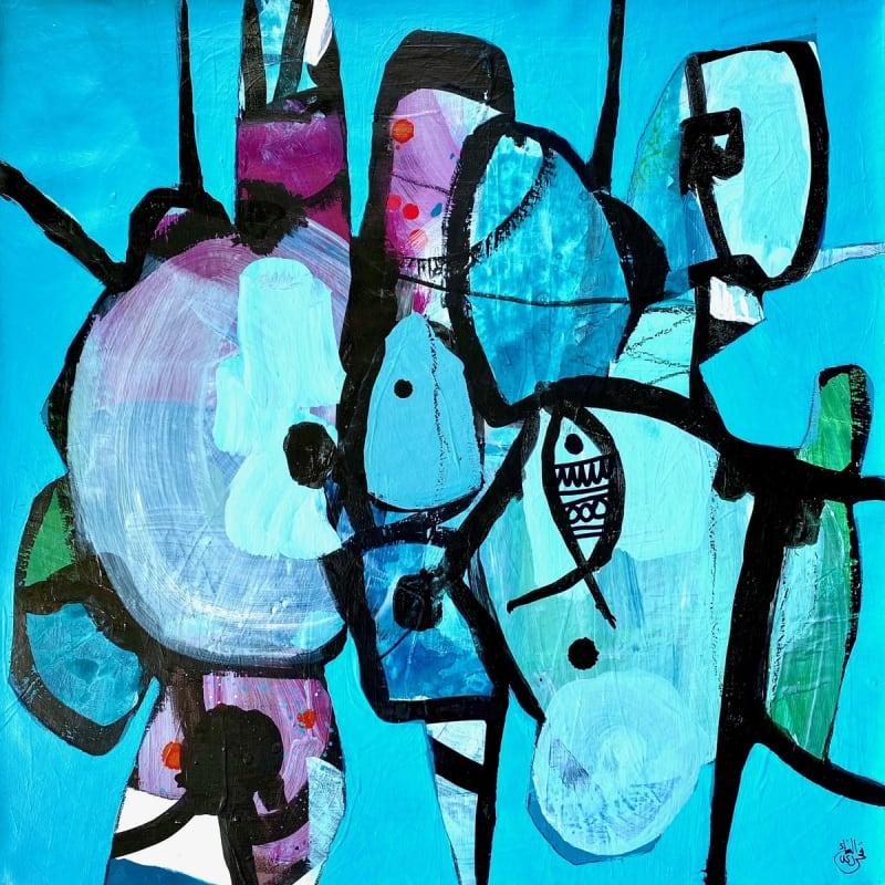 Nissa Raad, SwimII, 2021, Acrylic on canvas, 55x55cm