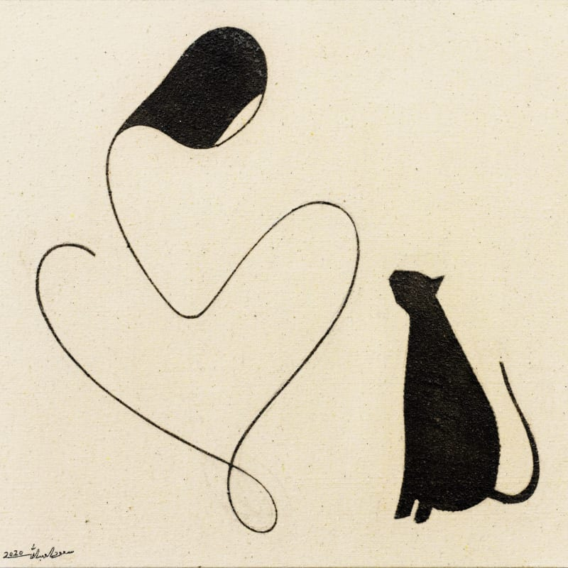 Saoud Abdallah, Girl and cat, 2020