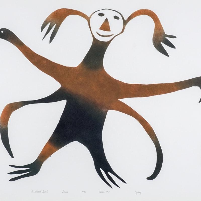LOT 43  OHOTAQ MIKKIGAK (1936-2014) KINNGAIT (CAPE DORSET)  An Inland Spirit, 1961  stencil, 19 x 24 in (48.3 x 61 cm)  ESTIMATE: $1,000 — $1,500  price realized: $960