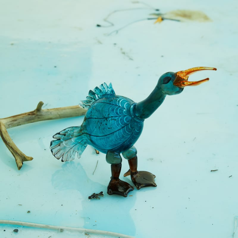 Across the River with Her, 2021, film installation, resin, glass, found objects. Courtesy of the artist and Kistefos Museum. Photo/...
