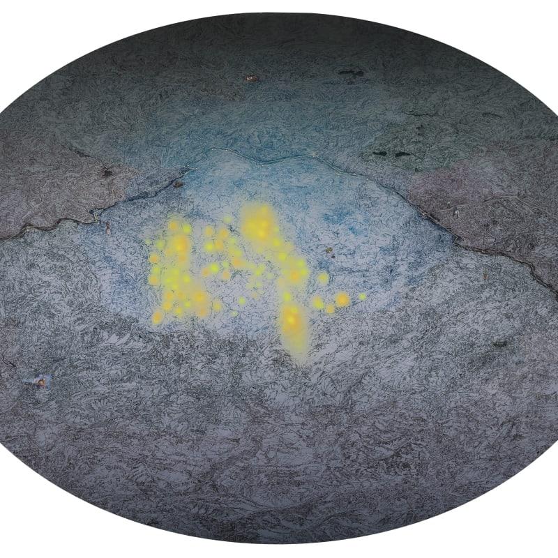Zhu Rixin, Yellow Dots • 64, 2015