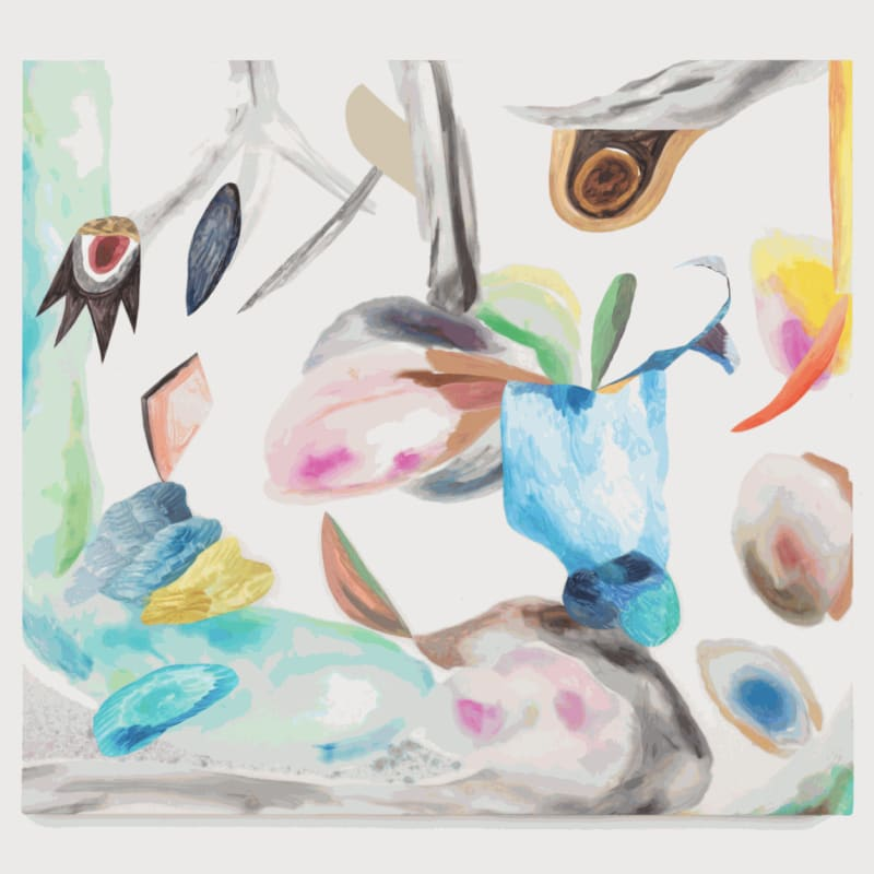 Lauren Silva. Untitled, 2017. Acrylic, watercolor, gouache, and ink on silk charmeuse with paper and vinyl. 38 x 42 in.