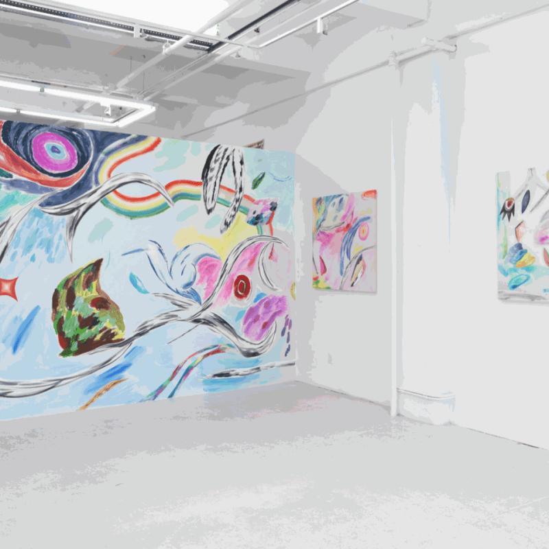 Installation view of Bill Komoski / Lauren Silva.