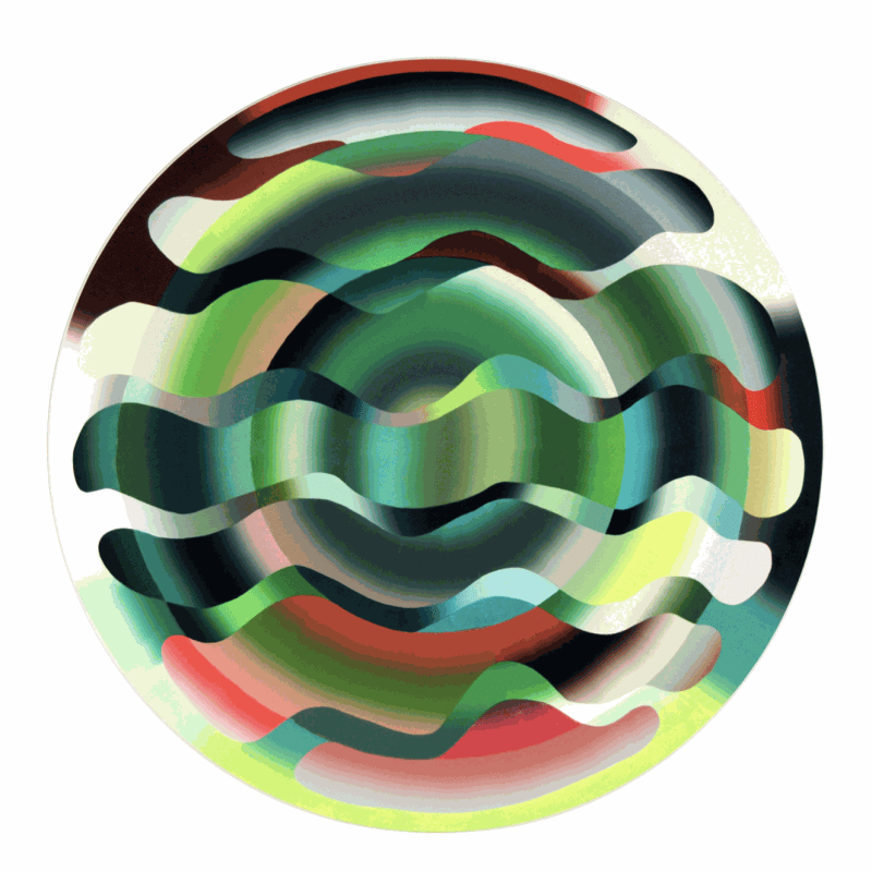 "Charlotte Hallberg. You Are Green, 2017. Oil on panel. 48"" Diameter."