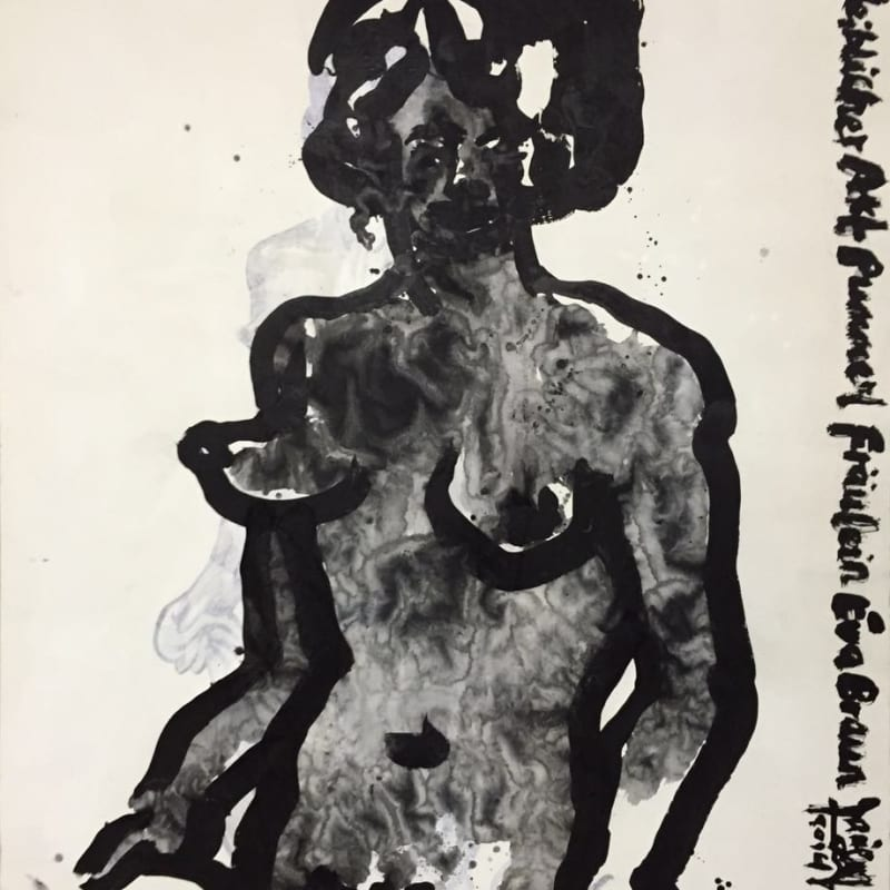 These are still nude paintings - copies of life drawings by Adolf Hitler No.1 2015 Ink, acrylic and mineral colours...