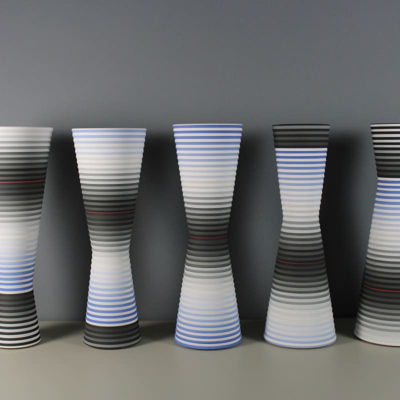 JIN EUI KIM Opject Inversion VI, 2018 Earthenware, 1120c wheel-thrown and brushed 18 different tones of engobes D 16 x H 45.5cm