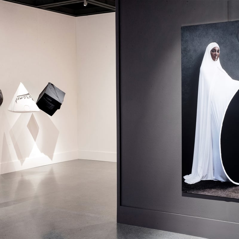 Installation view, Anrealage & Maïmouna Guerresi. Photo: Josh Bradsted