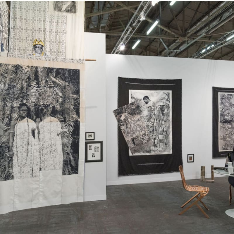nstallation view of work by Zohra Opoku at Mariane Ibrahim Gallery's booth at The Armory Show, 2017. Photo by Adam Reich for Artsy.