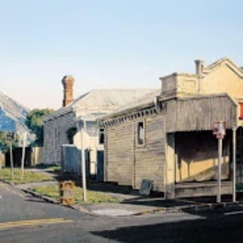Shops and Mt. Taranaki Oil on board 350 x 600mm