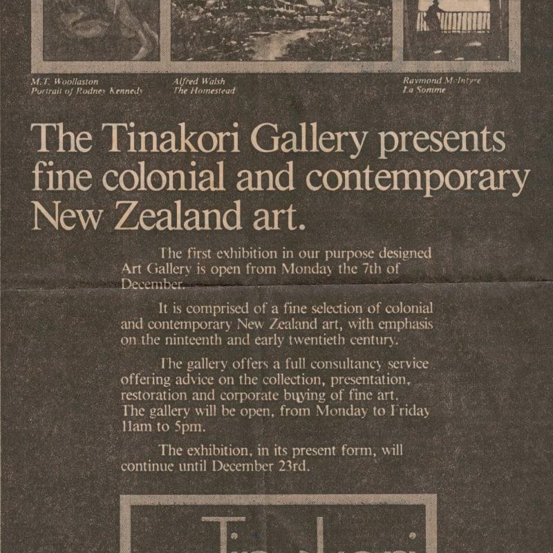Tinakori Gallery advertisement, 1987.
