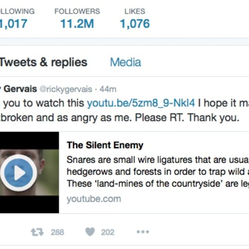 Ricky Gervais Retweets 'Silent Enemy'