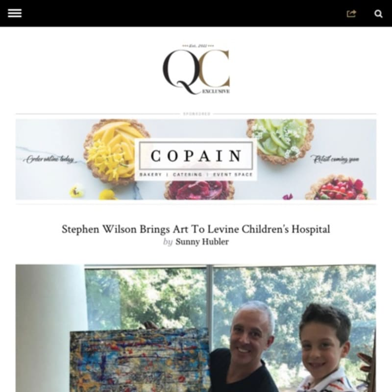 Charlotte-based artist Stephen Wilson has been expanding his work with his support of the Levine Children's hospital.
