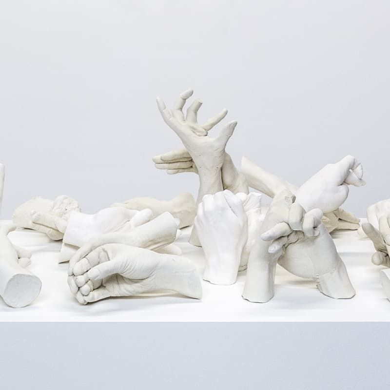 Marcus Coates Extinct Animals, 2018 Plaster of Paris, cast from the artist's hands whilst performing the extinct animal's shadow 110 x 110 x 60 cm (including plinth) Courtesy of the artist and WORKPLACE, UK
