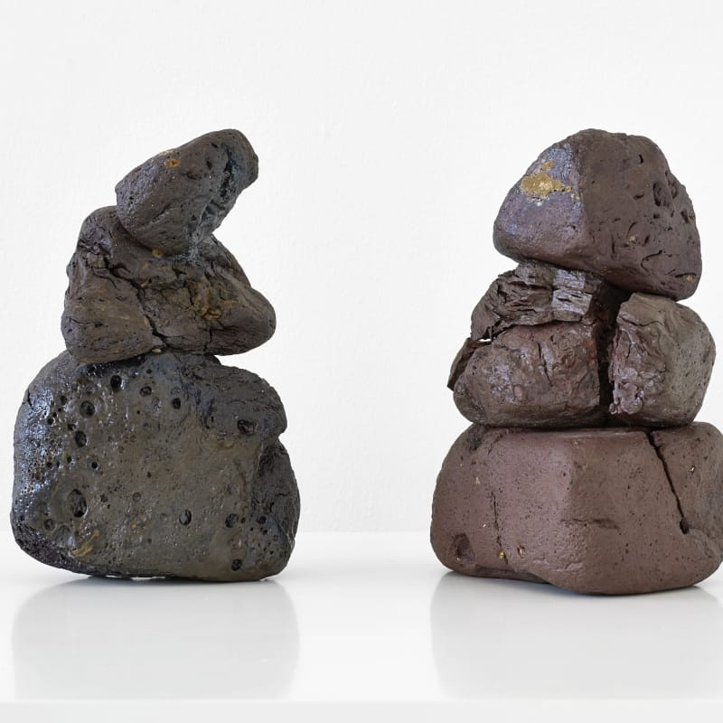 Emily Hesse  Alcmene and Galanthis (Finding Mycenae 2011 - ongoing) , 2015  Ceramic, found local brick and copper.  21.5 x 7 x 13 cm (Alcmene)  21 x 13.7 x 12.5 cm (Galanthis)  Courtesy of the artist and Workplace Foundation