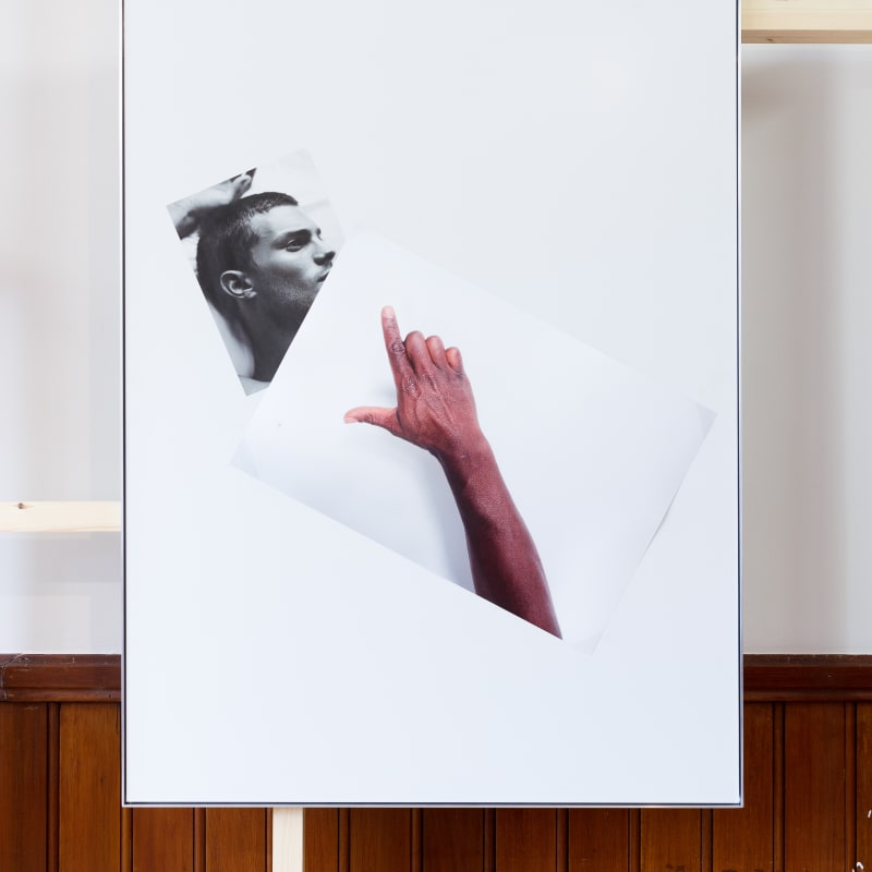 <p><b>Simeon Barclay</b><br /> <i>An Arrangement on white in perspective (cock on mate)</i>, 2015<br /> Clear acrylic, Diabond, inkjet print, tape<br /> 119 x 90 x 2.5 cm</p><p>Courtesy of the artist and Workplace Foundation</p>