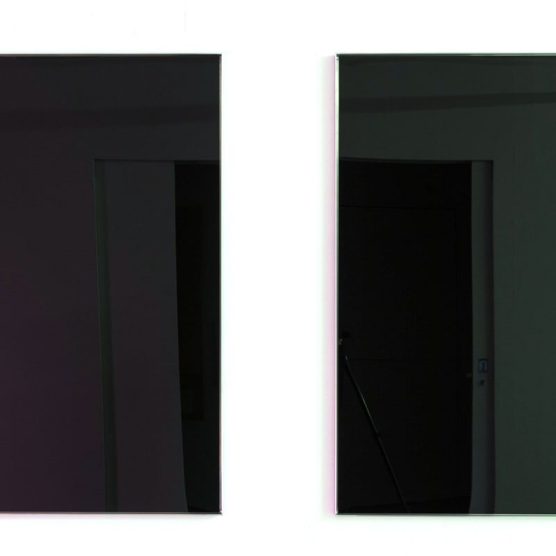 <p><b>Simeon Barclay</b><br /> <i>The physical weight</i>, 2016<br /> Aluminium, black acrylic, vinyl adhesive<br /> 119 x 118 x 2.5 cm (each)</p><p>Courtesy of the artist and Workplace Foundation</p>
