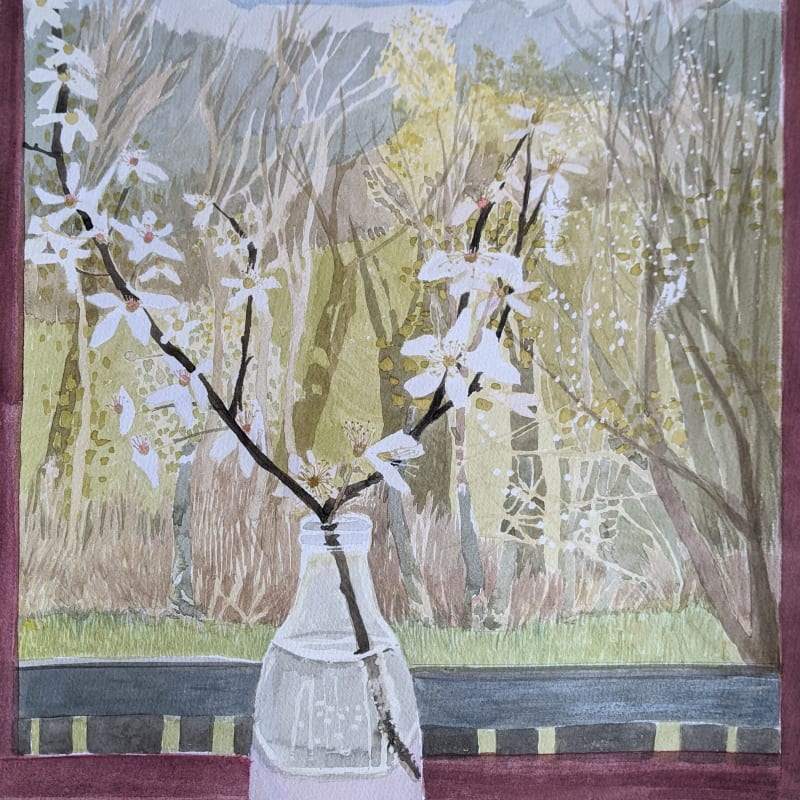 Suzy Fasht ARWS, View Through a Window with Blossom