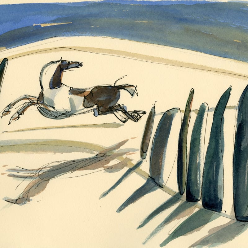 Julia Midgley RWS RE, Leaping Piebald Provence