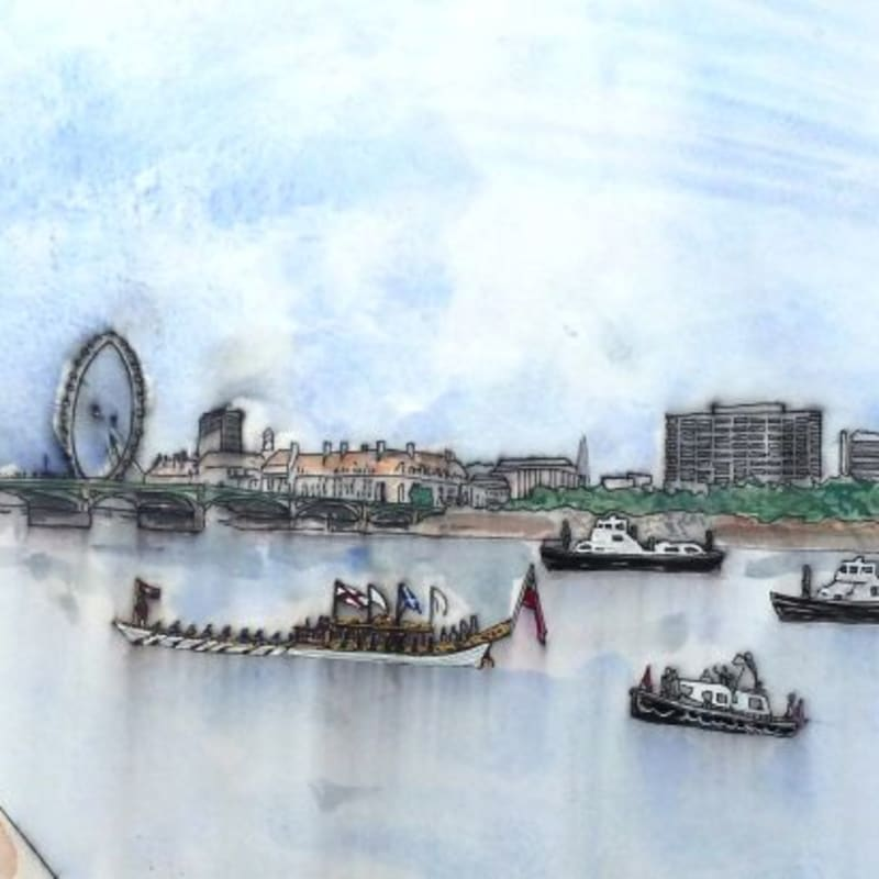 Thomas Plunkett PPRWS Hon. RE, Thames Jubilee Pageant from the House of Commons