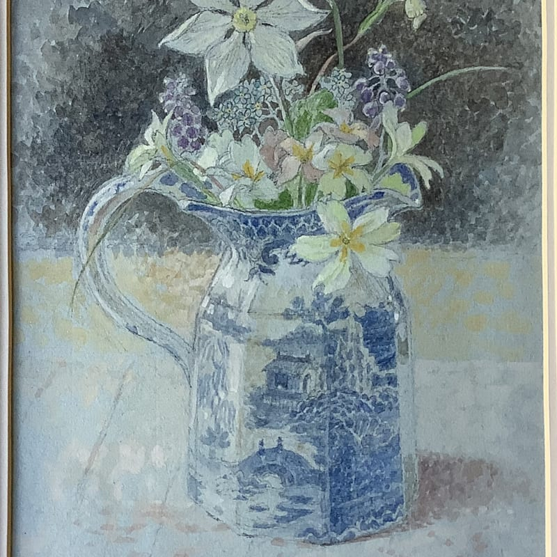 Charlotte Halliday RWS, Spring Flowers in a Favourite Jug