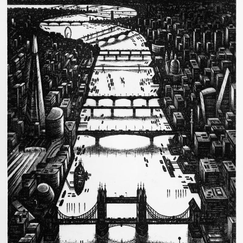 John Duffin ARWS RE, Thames Bridges Dusk