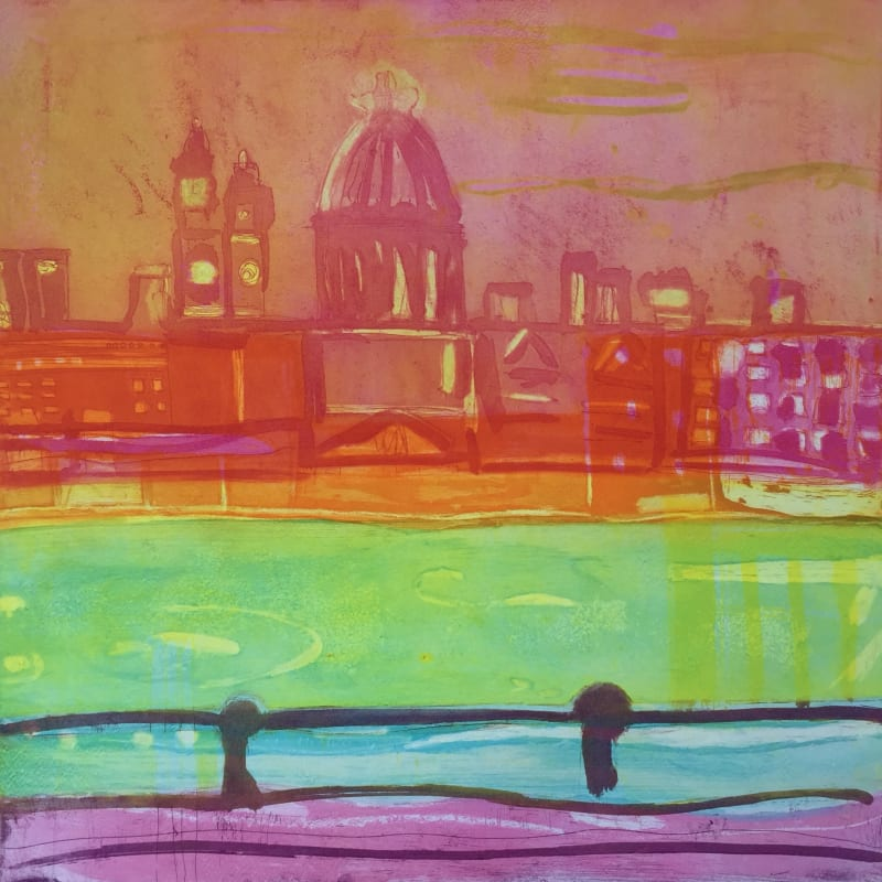 Louise Davies RE, Summer on the Southbank