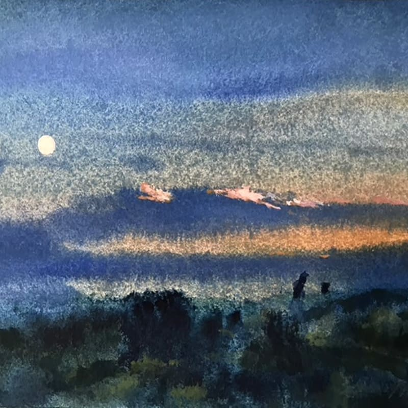 Francis Bowyer PPRWS Hon. RE, The Moon at Sunset