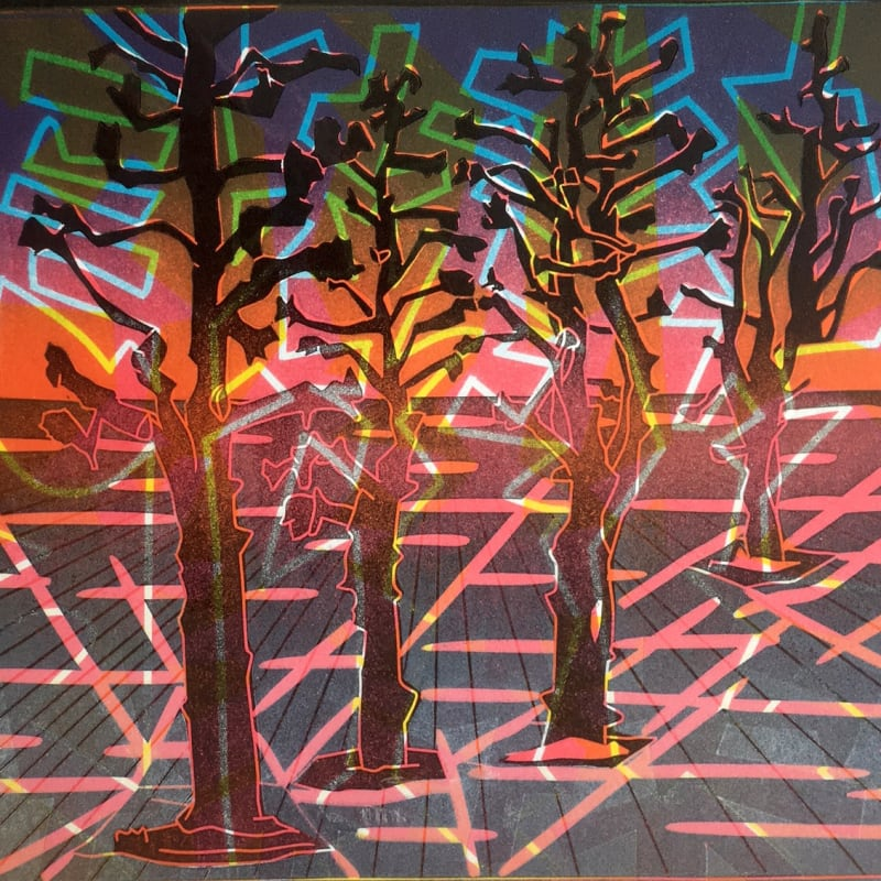 Dale Devereux Barker Re, Norwegian Trees, linocut