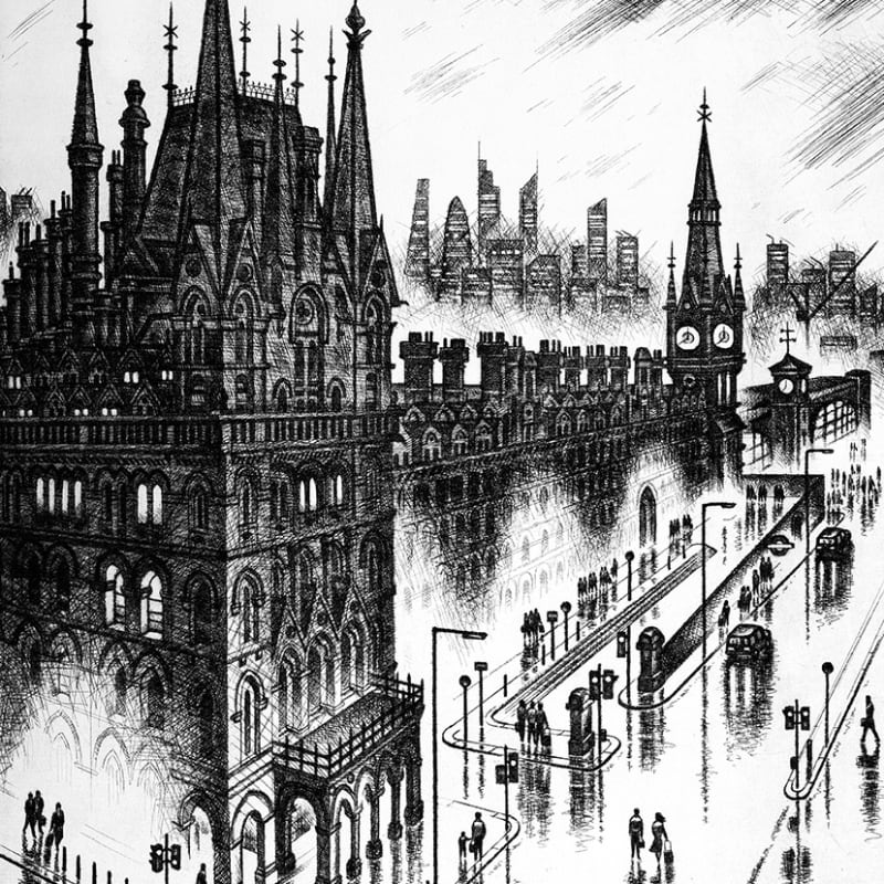 John Duffin RE, King's Cross, etching