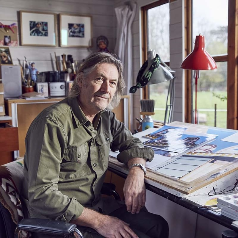 Denis Ryan in his studio, photographed by Alun Callender