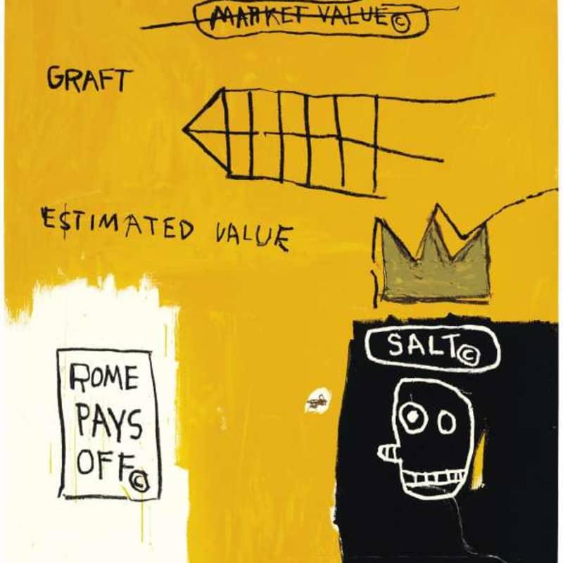 Artwork image: JEAN-MICHEL BASQUIAT Rome Pay's Off