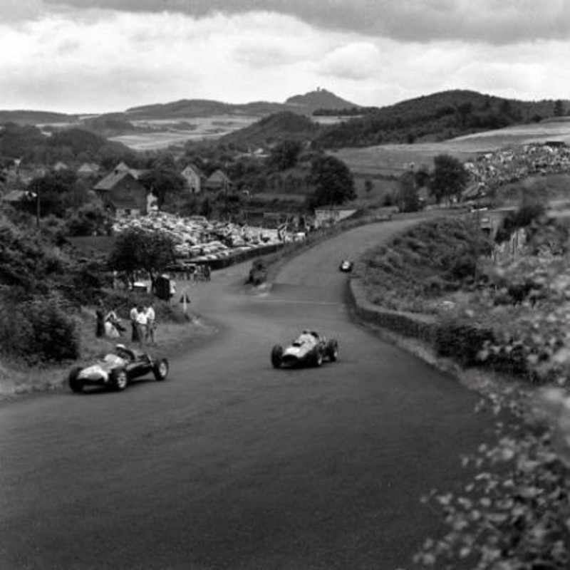 HAWTHORNE AND COLLINS, FERRARIS, NURBURGRING, 1958
