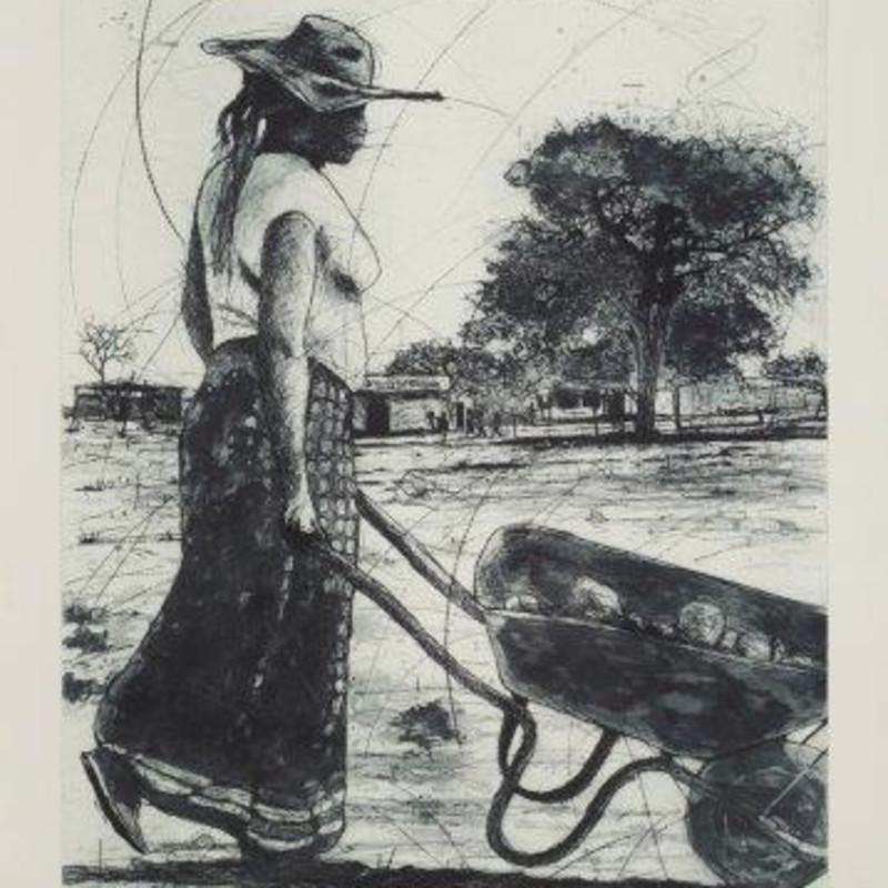 Philemon Hlungwane - Lady with the Wheelbarrow 1/2, SOLD