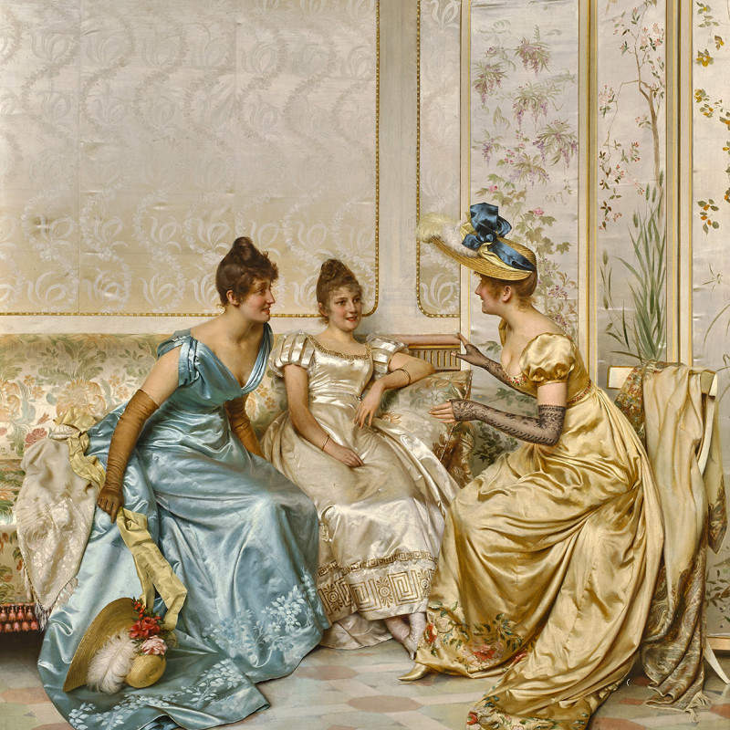 THREE ELEGANT LADIES IN AN INTERIOR