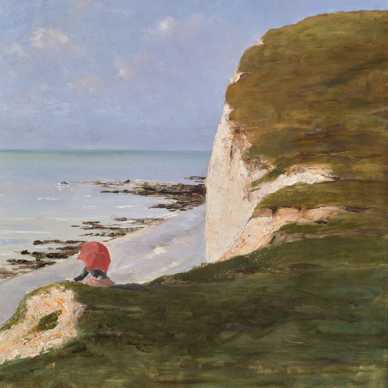 THE RED UMBRELLA (ÉLEGANTE À L'OMBRELLE ROUGE SOUS LES FALAISES BLANCHES)