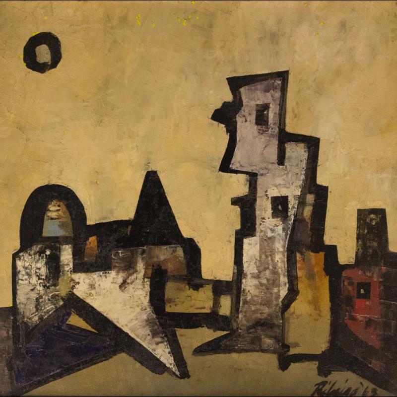 <span class=&#34;artist&#34;><strong>Lancelot Ribeiro</strong></span>, <span class=&#34;title&#34;><em>Angular Landscape with Sun</em>, 1963</span>