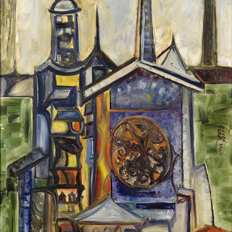 <span class=&#34;artist&#34;><strong>Sadanand K. Bakre</strong></span>, <span class=&#34;title&#34;><em>Untitled (Landscape with Cathedral Spire)</em>, 1965</span>