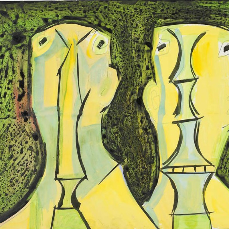 <span class=&#34;artist&#34;><strong>Francis Newton Souza</strong></span>, <span class=&#34;title&#34;><em>Two Heads</em>, c.1958</span>