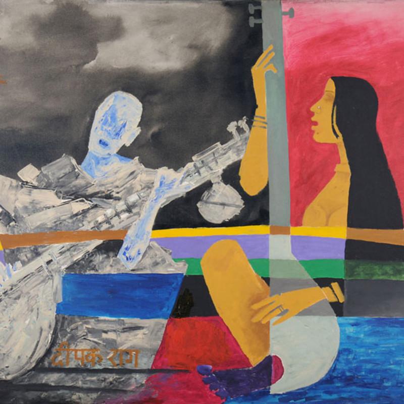 <span class=&#34;artist&#34;><strong>Maqbool Fida Husain</strong></span>, <span class=&#34;title&#34;><em>Deepak Raag</em>, 1977</span>