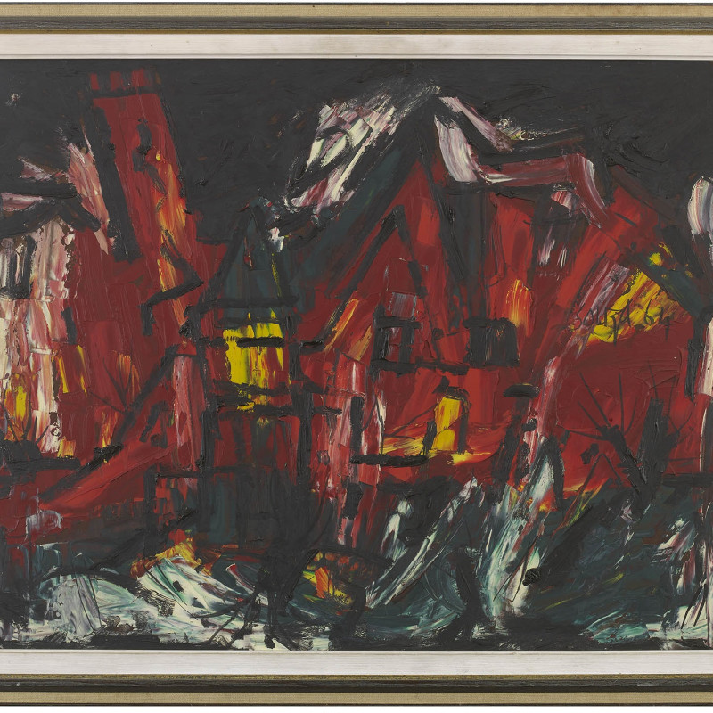 Francis Newton Souza, Red Townscape, 1964