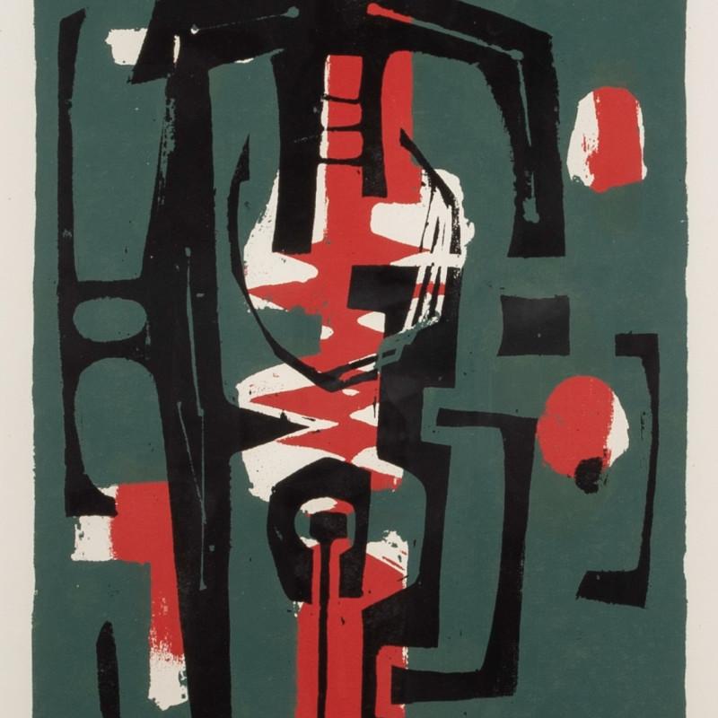 Frank Avray Wilson, Untitled (Green, Red, Black), 1956