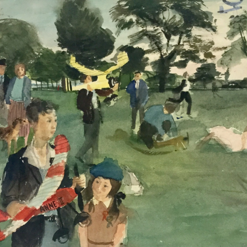 Denis William Reed, Flying Planes in the Park, c 1949
